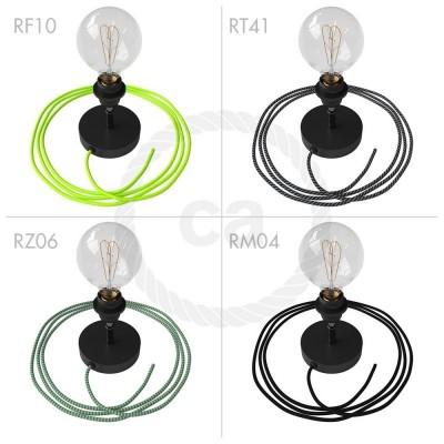 Spostaluce Metallo 90°, čierne nastaviteľné svietidlo s E27 objímkou so závitom, textilným káblom a postrannými otvormi