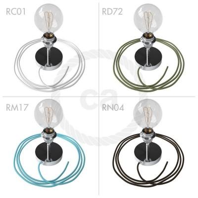 Spostaluce Metallo 90°, chrómované nastaviteľné svietidlo s E27 objímkou so závitom, textilným káblom a postrannými otvormi