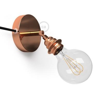 Spostaluce Metallo 90°, medené nastaviteľné svietidlo s E27 objímkou so závitom, textilným káblom a postrannými otvormi