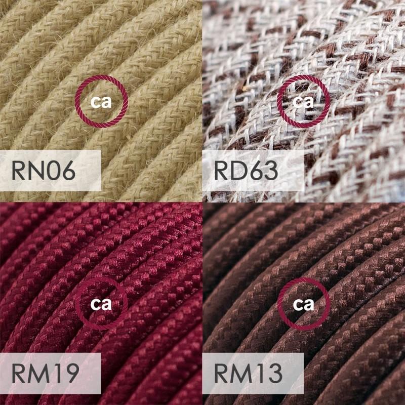 Spostaluce Metallo 90°, mosadzné nastaviteľné svietidlo s E27 objímkou so závitom, textilným káblom a postrannými otvormi