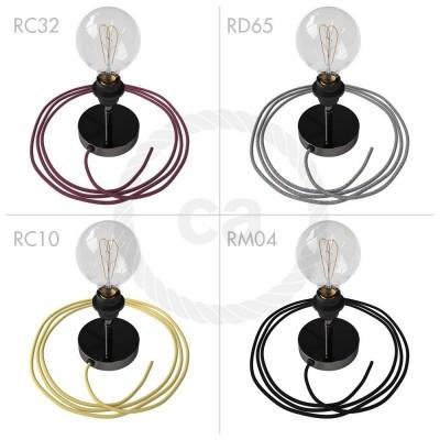 Spostaluce Metallo 90°, čierne perleťové nastaviteľné svietidlo s E27 objímkou so závitom, textilným káblom a postranými otvormi