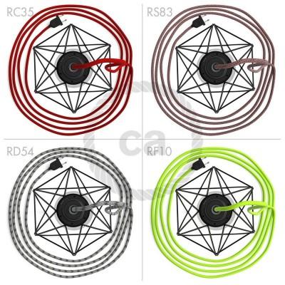 Table Snake - šnúrové svietidlo s čiernou kovovou diamantovou klietkou a 2 pólovou zástrčkou