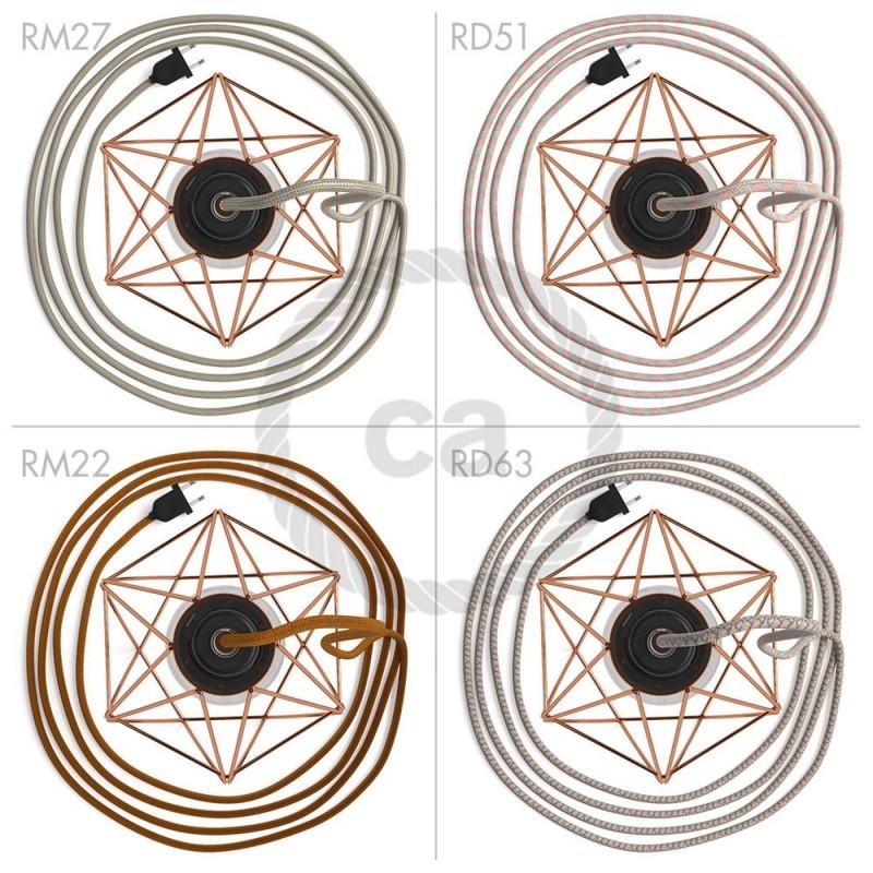 Table Snake - šnúrové svietidlo s medenou kovovou diamantovou klietkou a 2 pólovou zástrčkou
