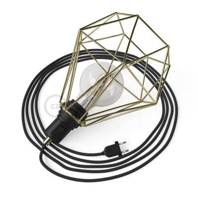 Table Snake - šnúrové svietidlo s mosadznou kovovou diamantovou klietkou a 2 pólovou zástrčkou