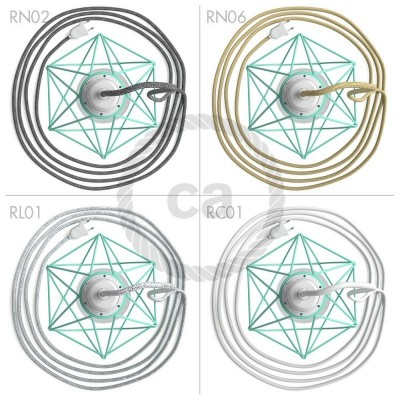 Table Snake - šnúrové svietidlo s tyrkysovou kovovou diamantovou klietkou a 2 pólovou zástrčkou