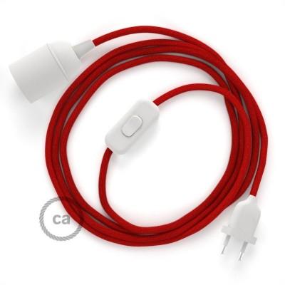 SnakeBis - napájací textilný kábel s objímkou - Ohnivo - červený bavlnený RC35