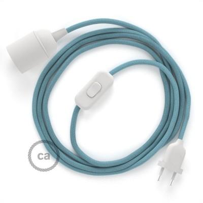 SnakeBis - napájací textilný kábel s objímkou - Oceánovomodrý bavlnený RC53