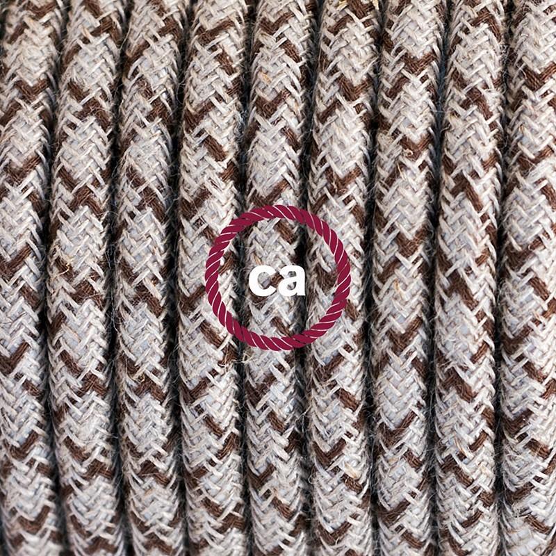 SnakeBis - napájací textilný kábel s objímkou - Kosoštvorcový kôrový bavlneno - ľanový RD63