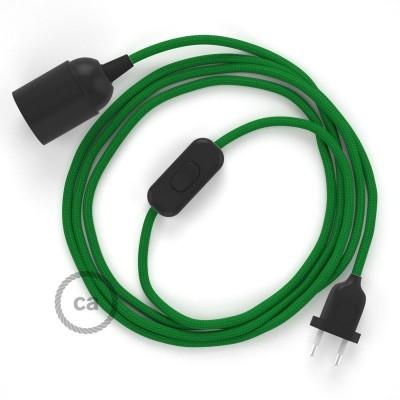 SnakeBis - napájací textilný kábel s objímkou  -  Zelený hodvábny RM06