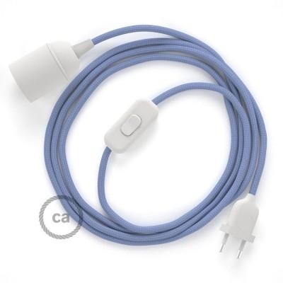 SnakeBis - napájací textilný kábel s objímkou  -  Lila hodvábny RM07