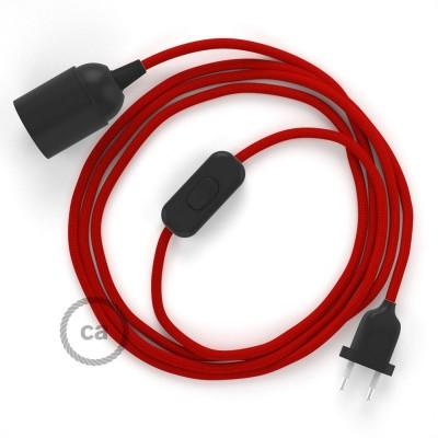 SnakeBis - napájací textilný kábel s objímkou  -  Červený hodvábny RM09