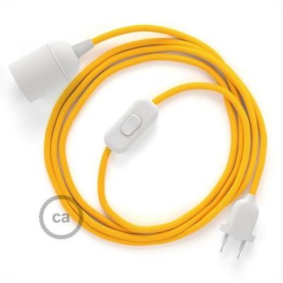 SnakeBis - napájací textilný kábel s objímkou - Žltý hodvábny RM10