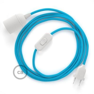 SnakeBis - napájací textilný kábel s objímkou  -  Tyrkysový hodvábny RM11