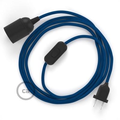 SnakeBis - napájací textilný kábel s objímkou - Modrý hodvábny RM12