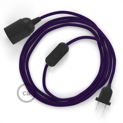 SnakeBis - napájací textilný kábel s objímkou  -  Fialový hodvábny RM14