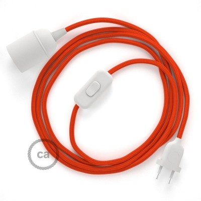 SnakeBis - napájací textilný kábel s objímkou  -  Oranžový hodvábny RM15