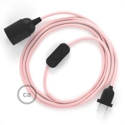 SnakeBis - napájací textilný kábel s objímkou - Ružový hodvábny RM16