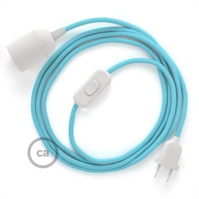 SnakeBis - napájací textilný kábel s objímkou - Svetlo modrý hodvábny RM17