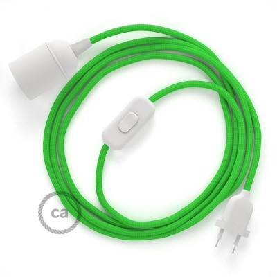 SnakeBis - napájací textilný kábel s objímkou - Limetkový hodvábny RM18