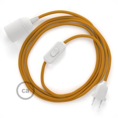SnakeBis - napájací textilný kábel s objímkou - Horčicový hodvábny RM25