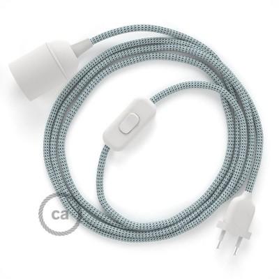 SnakeBis - napájací textilný kábel s objímkou - Stracciatella hodvábny RT14