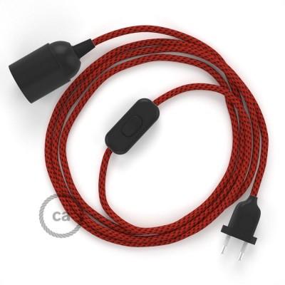 SnakeBis - napájací textilný kábel s objímkou - Red Devil hodvábny RT94