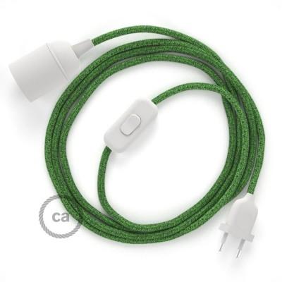 SnakeBis - napájací textilný kábel s objímkou  -  Zelený mixovaný bavlnený RX08