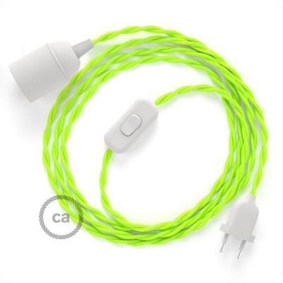 SnakeBis - napájací textilný kábel s objímkou  -  Fluo žltý hodvábny TF10