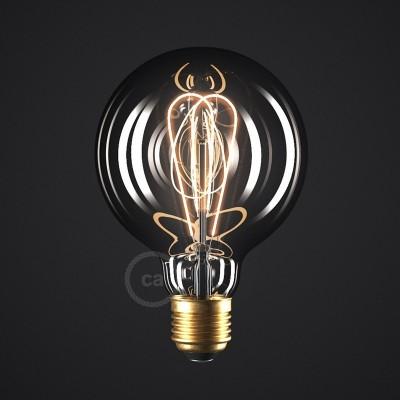 Dymová LED žiarovka - Glóbus G95 s dvojitým oblúkovým vláknom - 5W E27 Stmievateľná 2000K