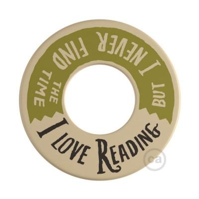 MINI-UFO: obojstranný drevený disk z kolekcie READING BALLSH*T s motívom 2 PAGES + LOVE READING
