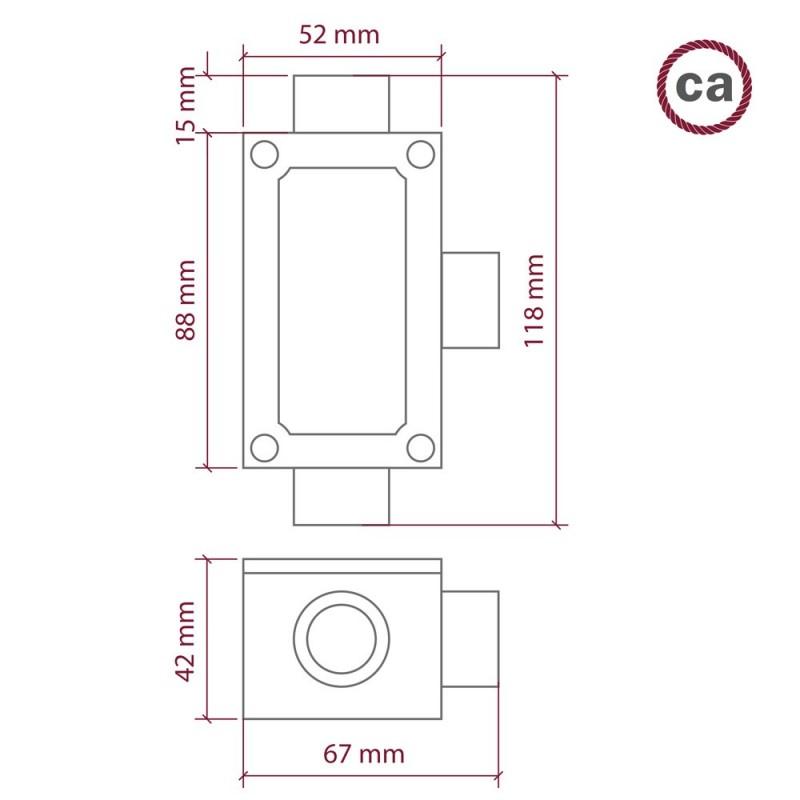 Troj-výstupová rozdeľovacia krabička v tvare T pre Creative-Tube v hliníkovom púzdre
