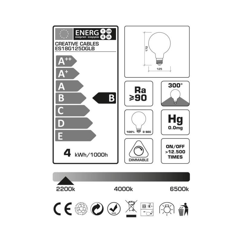 LED žiarovka G125 farebná kombinácia - súmrak (Dusk), kolekcia Pastel, popínavé vlákno 4W E27 Stmievateľná 2200K