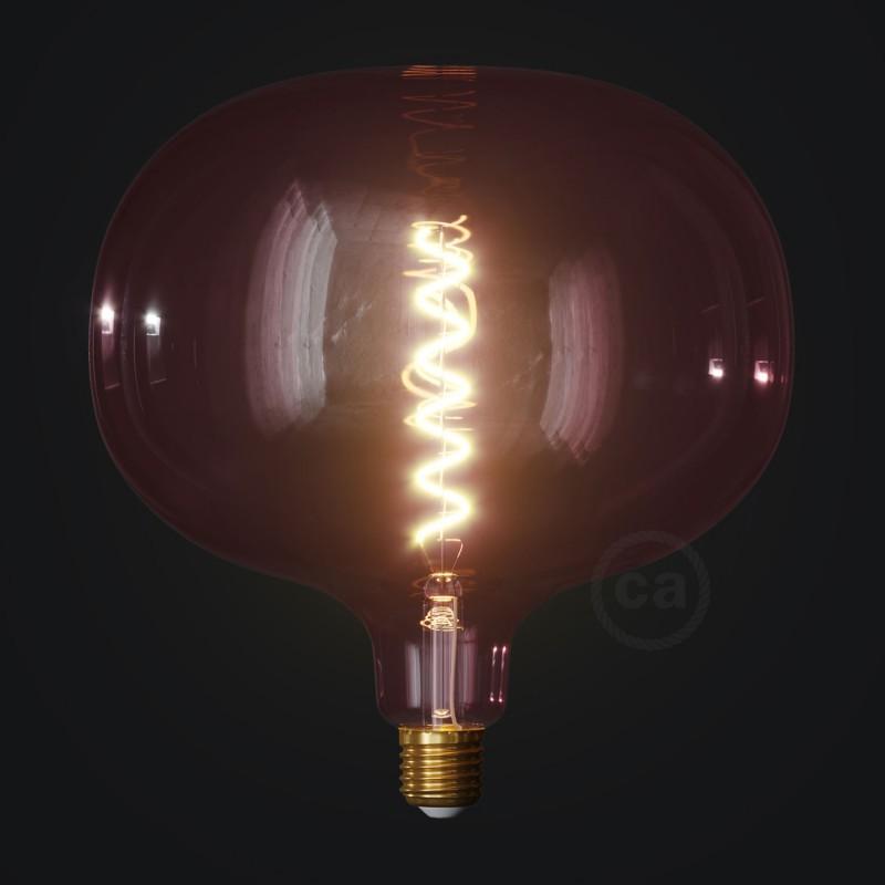LED žiarovka Cobble vínovo červená (Berry Red), kolekcia Pastel, špirálové vlákno 4W E27 Stmievateľná 2200K