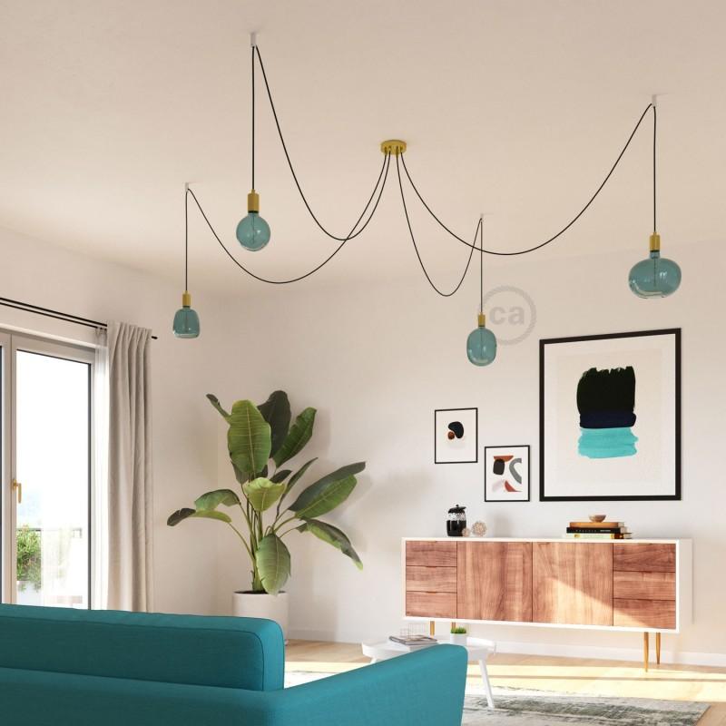 LED žiarovka Cobble farby oceánu (Ocean Blue), kolekcia Pastel, špirálové vlákno 4W E27 Stmievateľná 2200K