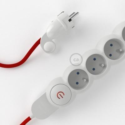 Predlžovací textilný elektrický kábel - RM09 červený - so 4 zásuvkami a Schuko zástrčkou.