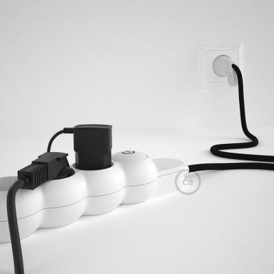 Predlžovací textilný elektrický kábel - RM04 čierny - so 4 zásuvkami a Schuko zástrčkou.