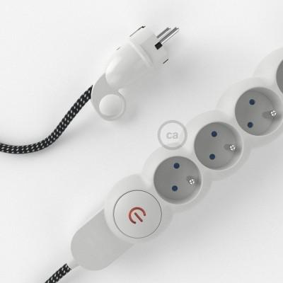 Predlžovací textilný elektrický kábel - 3D efekt RT41 Stars - so 4 zásuvkami a Schuko zástrčkou.