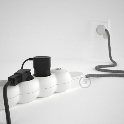 Predlžovací textilný elektrický kábel - RN02 ľanový šedý - so 4 zásuvkami a Schuko zástrčkou.