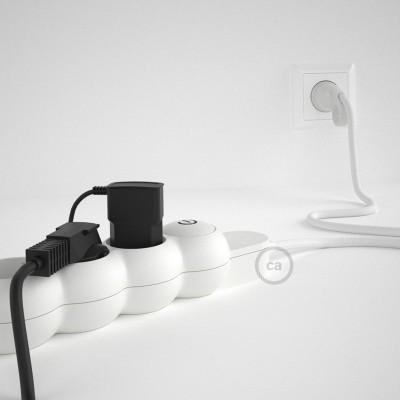 Predlžovací textilný elektrický kábel - RM01 biely - so 4 zásuvkami a Schuko zástrčkou.