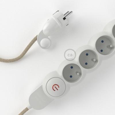 Predlžovací textilný elektrický kábel - RN01 ľanový prírodný - so 4 zásuvkami a Schuko zástrčkou.