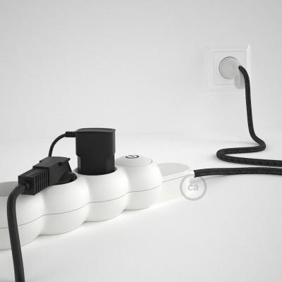 Predlžovací textilný elektrický kábel - RN03 ľanový antracitový - so 4 zásuvkami a Schuko zástrčkou.