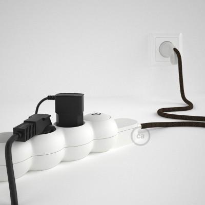 Predlžovací textilný elektrický kábel - RN04 ľanový hnedý - so 4 zásuvkami a Schuko zástrčkou.