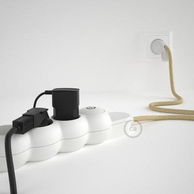 Predlžovací textilný elektrický kábel - RN06 jutový - so 4 zásuvkami a Schuko zástrčkou.