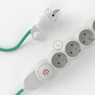 Predlžovací textilný elektrický kábel - RH69 opál - so 4 zásuvkami a Schuko zástrčkou.