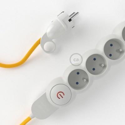 Predlžovací textilný elektrický kábel - RM10 žltý - so 4 zásuvkami a Schuko zástrčkou.