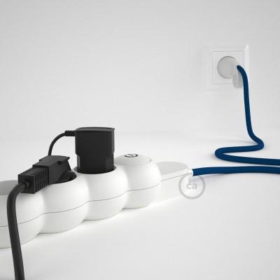 Predlžovací textilný elektrický kábel - RM12 modrý - so 4 zásuvkami a Schuko zástrčkou.