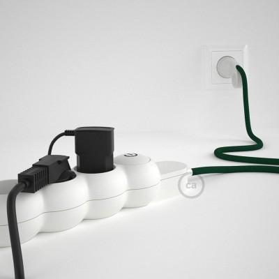 Predlžovací textilný elektrický kábel - RM21 tmavo zelený - so 4 zásuvkami a Schuko zástrčkou.