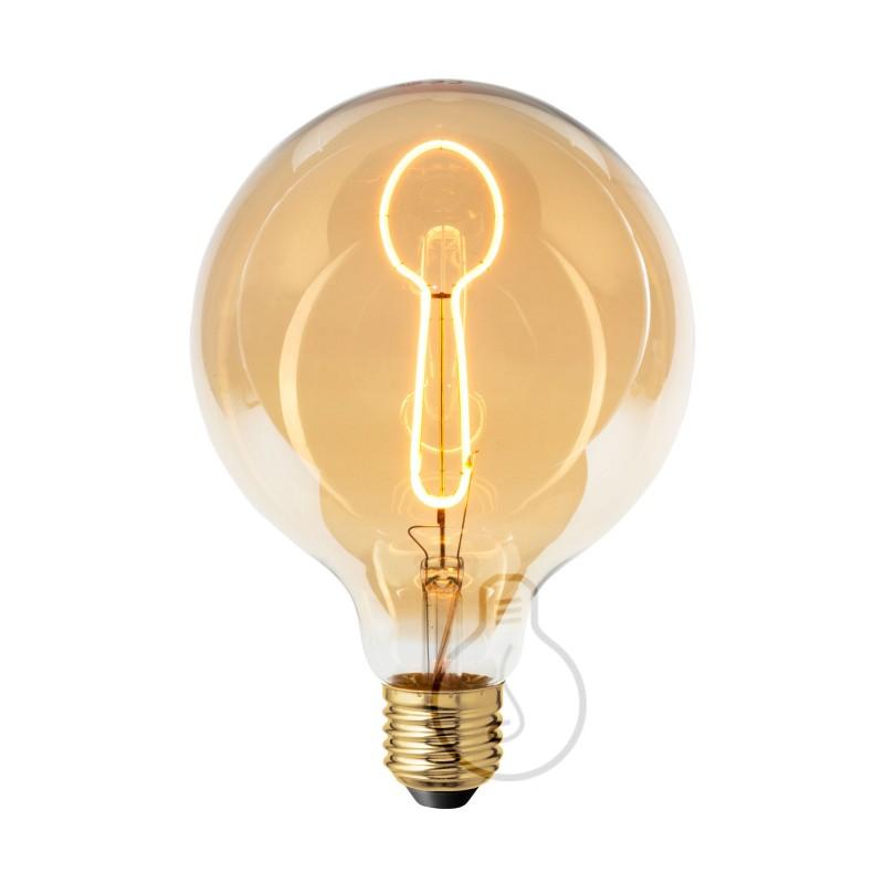 Priehľadná LED žiarovka Glóbus G125 z edície Masterchef s vláknom v tvare lyžice - 4W E27, stmievateľná 2000K