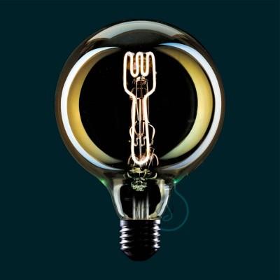 Priehľadná LED žiarovka Glóbus G125 z edície Masterchef s vláknom v tvare vidličky - 4W E27, stmievateľná 2000K