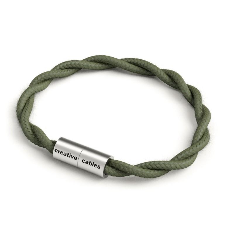 Náramok s matnou striebornou magnetickou sponou a špirálovým káblom TC63 - Zeleno-šedá